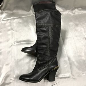 Lucky Brand Elena Black Leather Boots 8 Heels